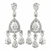 Rhodium Clear Teardrop CZ Crystal Chandelier Earrings 9410