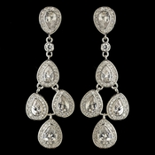 Rhodium Clear Teardrop CZ Crystal Chandelier Earrings 9418