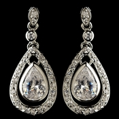 Rhodium Clear Teardrop CZ Crystal Drop Earrings 76018