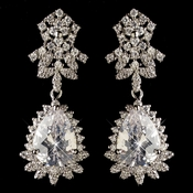 Rhodium Clear Teardrop CZ Crystal Drop Earrings 9734