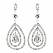 Rhodium Clear Teardrop CZ Crystal Drop Earrings 9740