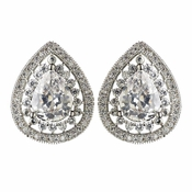 Rhodium Clear Teardrop CZ Crystal Stud Earrings 2450