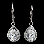 Rhodium Clear Teardrop CZ Drop Earrings