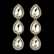 Rhodium Clear Teardrop Rhinestone Dangle Bridal Wedding Earrings 4141