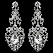 Rhodium Clear Teardrop Rhinestone Dangle Earrings 9643