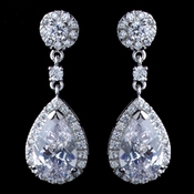 Rhodium Clear Teardrop & Round CZ Drop Earrings
