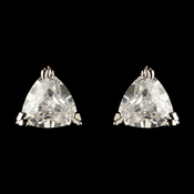 Rhodium Clear Trillion Cut CZ Crystal Triangle Stud Earrings 3531