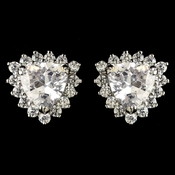 Rhodium Clear Trillion CZ Crystal Stud Earrings 9741