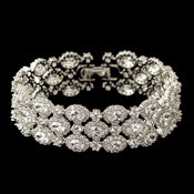 Rhodium Clear  Triple Row Oval CZ Crystal Bracelet 4718