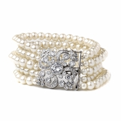 Rhodium CZ 5 Row Ivory Pearl Bridal Wedding Bracelet 82064***Discontinued***