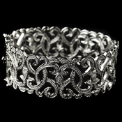 Rhodium CZ Art D�cor Heart Swirl Bangle Bracelet
