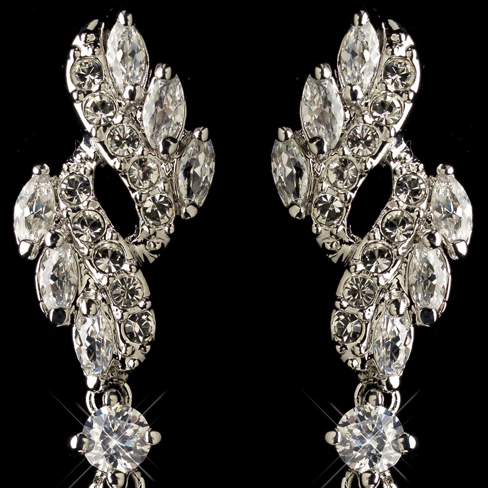 6 Crystal Pearl Photo Picture Frame Diamond Bowknot: Rhodium CZ Crystal & Diamond White Pearl Drop Earrings 76017