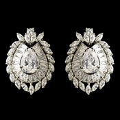 Rhodium CZ Crystal French Clip Pierced Stud Earrings 3238