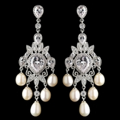 Rhodium CZ Crystal & Freshwater Pearl Chandelier Earrings 4703