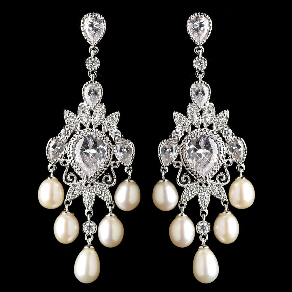 Rhodium cz crystal freshwater pearl chandelier earrings 4703 arubaitofo Images