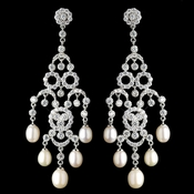 Rhodium CZ Crystal & Freshwater Pearl Chandelier Earrings 4704