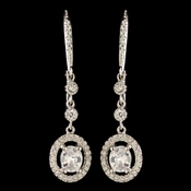 Rhodium CZ Crystal Leverback Dangle Earrings 2636