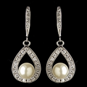 Rhodium CZ Crystal Teardrop & Diamond White Pearl Accent Drop Earrings 9745