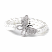 Rhodium CZ & Diamond White Pearl Butterfly Stretch  Bridal Wedding Bracelet 82068