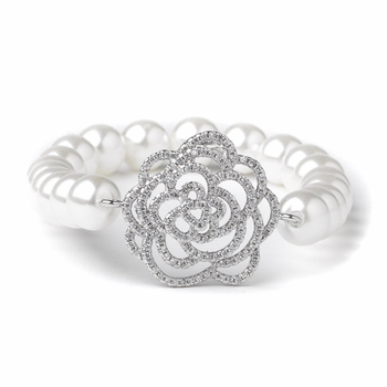 Rhodium CZ & Diamond White Pearl Rose Bridal Wedding Bracelet 82067