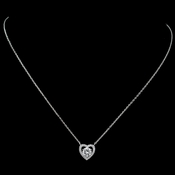 Rhodium CZ Heart Pendant Necklace 9854