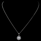 Rhodium CZ Snowflake Pendant Necklace 9852