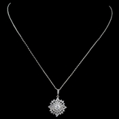 Rhodium CZ Sun Pendant Necklace 9853