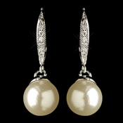 Rhodium Diamond White Pearl & Clear CZ Crystal Hook Drop Earrings 9405