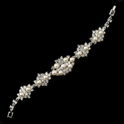 Rhodium Diamond White Pearl & Clear Rhinestone Bracelet 174