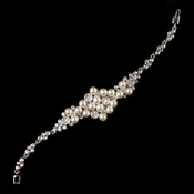 Rhodium Diamond White Pearl & Clear Rhinestone Bracelet 176