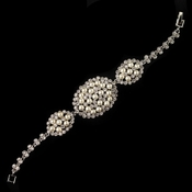 Rhodium Diamond White Pearl & Clear Rhinestone Bracelet 177