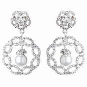 Rhodium Diamond White Pearl & CZ Drop Earrings 9218