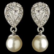 Rhodium Diamond White Pearl & CZ Teardrop Crystal Drop Earrings 2835