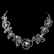 Rhodium Diamond White Pearl Necklace 76013