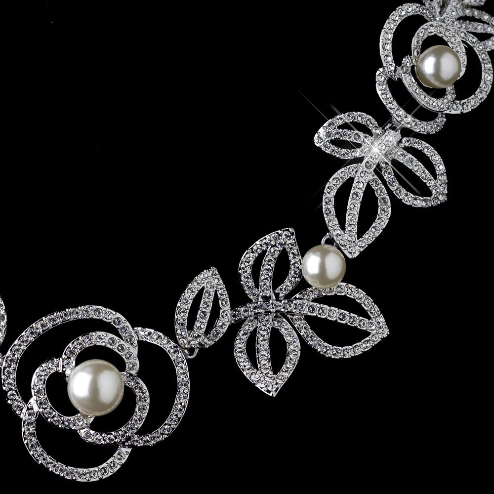 Rhodium diamond white pearl necklace 76013 earrings for Diamond pearl jewelry sets