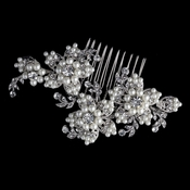 Rhodium Diamond White Pearl & Rhinestone Floral Hair Comb 4721