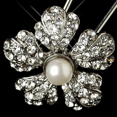 Rhodium Diamond White Pearl & Rhinestone Flower Hair Pin