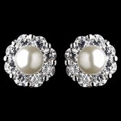 Rhodium Diamond White Pearl & Rhinestone Flower Stud Earrings 9869