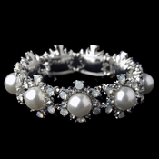Rhodium Diamond White Pearl Stretch Bracelet 9619