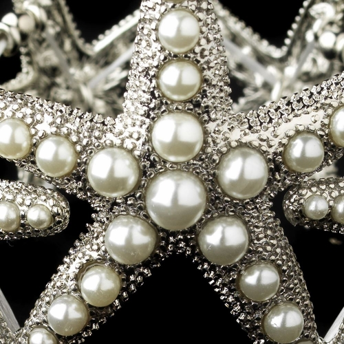 Rhodium Diamond White Pearl Stretch Starfish Bracelet