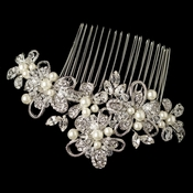 Rhodium Diamond White Pearl, Swarovski Crystal Bead & Rhinestone Floral Ribbon Hair Comb 64
