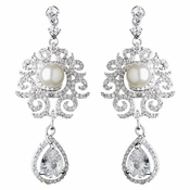 Rhodium Diamond White Pearl & Teardrop CZ Dangle Swirl Earrings 9217