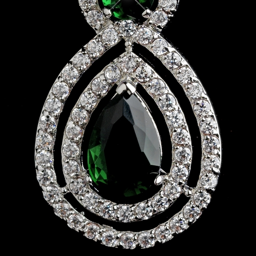 Rhodium Emerald Teardrop & Round CZ Dangle Earrings