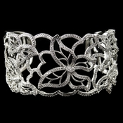 Rhodium Floral Butterfly CZ Bangle Bracelet **Discontinued**
