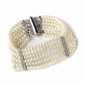 Rhodium Ivory 6 Row Pearl Bridal Wedding Bracelet 82065