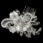 Rhodium Ivory Floral Lace Comb with Swarovski Crystal Bead, Rhinestone & Sequin Accents