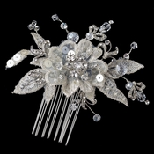 Rhodium Ivory Lace & Crystal Flower Comb 4121