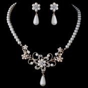 Gold Ivory Pearl & Rhinestone Flower Jewelry Set 4216