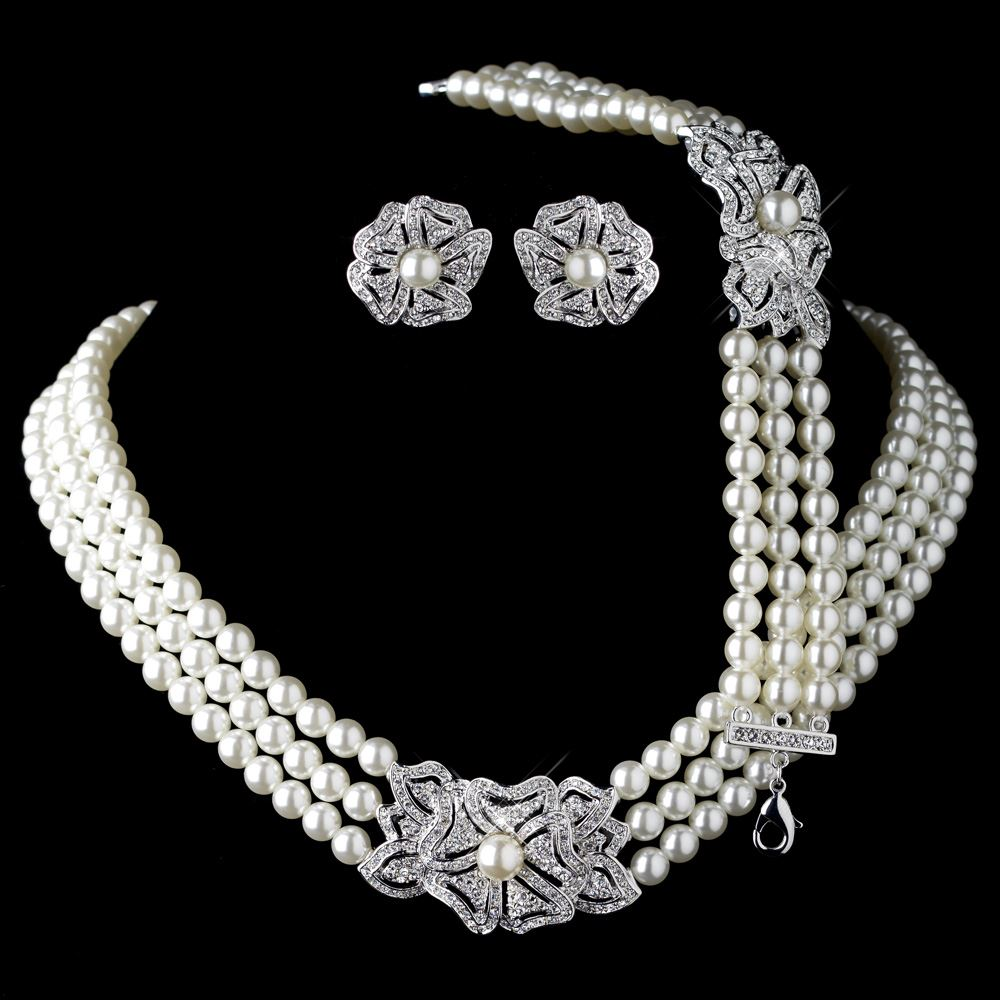 Rhodium Ivory Pearl Rhinestone Necklace 76010 Earrings 76012 Bracelet 76011 Vintage Fl Jewelry Set