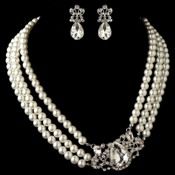 Rhodium Ivory Pearl & Rhinestone Side Accented  Jewelry Set 4083 **Discontinued***